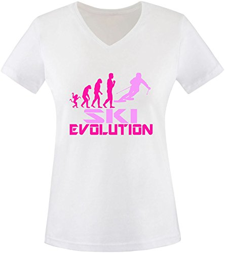 EZYshirt® Ski Evolution Damen V-Neck T-Shirt Weiss/Pink/Rosa