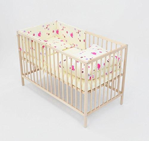Velinda 6-tlg. Baby-Bettwäsche-Set Bettzeug Bettbezug Bettgarnitur für Babybett 120x60 (Muster: Kätzchen mit Blümchen_Cremefarben)