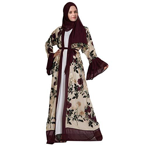 Ausgefallene Weihnachtskostüm - GJKK Muslimische Kleid Damen Elegant Kleid Blume Stickerei öffnen Lange Strickjacke Maxikleid Kimono Abaya Kaftan Langarm Freizeit Kleider Muslimische Islamische Kleidung Arabische Muslimische Roben