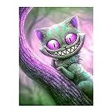 Kentop DIY 5D Diamante Dipingere con i numeri Kits Diamante pittura – Diavolo gatto