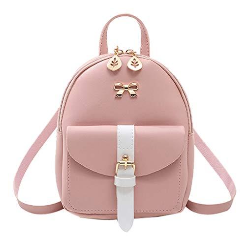 jgashf Reiserucksack Damen Mini Rucksack Einfach Wild Small Backpack Kinderrucksack Letter Purse Handy Bag Kuriertasche Umhängetasche Schultertasche (Rosa,18cmx8cmx19cm) - Mutterschaft Plus Rosa Kleid Größe