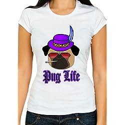 Pug Life–Camiseta de mujer matón Vida parodia–la pimpest de perros más Gangster–de perros–de perros Supremo–Parte superior perro, Blanco, XXL