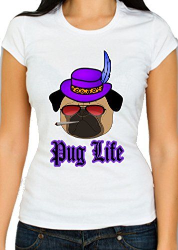 Pug Life - Thug Life Parody T-Shirt - The Pimpest Of Pugs - Most Gangster Of Hounds - Pooch Supreme - Top Dog (XX-Large, White)