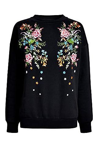 next T-shirt brodé à fleurs femme Regular Noir EU 46 (UK 18)