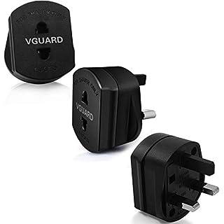VGUARD [3 Stück] UK Reiseadapter, GB England 2 Pin auf 3 Pin 1A Sicherung Elektrischer Rasierer Electric Shaver Razor Adapter Stecker Toothbrush Zahnbürste Plug Steckdose Konverter - Schwarz