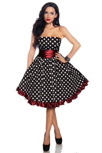 Vintage Rockabilly-Kleid Damen Oberteil Kleid Dress mit Schärpe