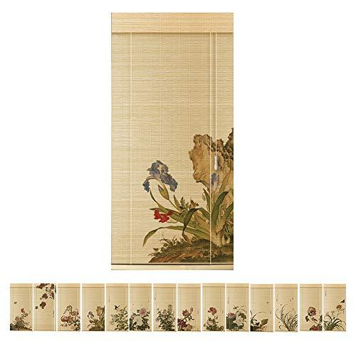 PENGFEI Bambus Rollo Schatten Bambusrollo Raffrollos Jalousie Haus Dekoration Sonnenschutzvorhang Trennwandbilder, Chinesischer Stil, Muster Angepasst, Mehrere Größen