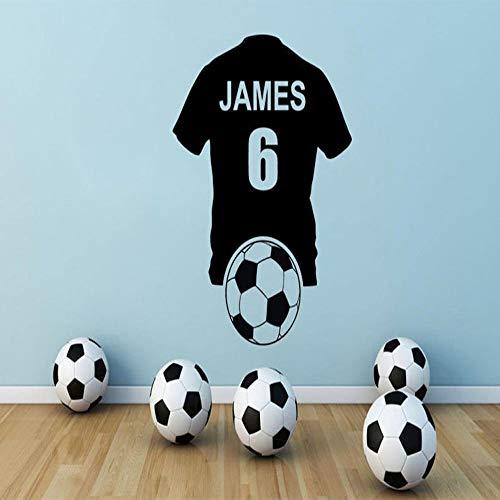 HNXDP Fußball Shirt Wandkunst Aufkleber Vinyl Aufkleber Fußball Jungen Schlafzimmer Wanddekoration Wandtattoos Benutzerdefinierte Name Nummer Braun 57X73 CM -