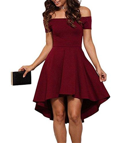YOGLY Damen Kleid Elegant Schulterfrei A-Linie Knielang Kurzarm Vintage  Partykleid Cocktailkleid Abendkleid Sommerkleid Ballkleider 316bd2c7ad