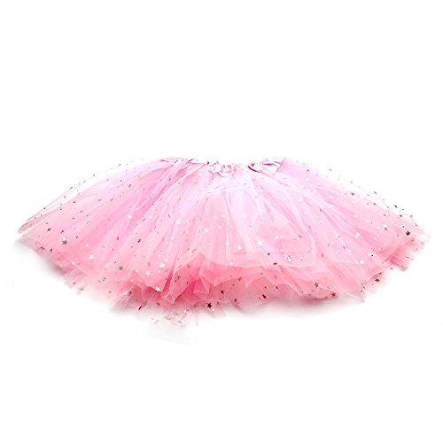 HuaYang Hübsches kleines Sternchen Ballettröckchen Bühnenproduktionen Tanz Rock Luftblasen-Rock für Mädchen Kinder (Rosa) (Hübscher Tanz Kostüme Für Mädchen)