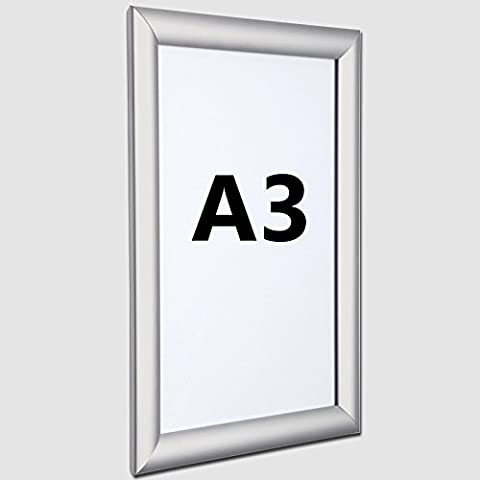 A3 Snapframe – Poster Display Snap Frame / Clip Frame 25mm Silver Anodised Frame