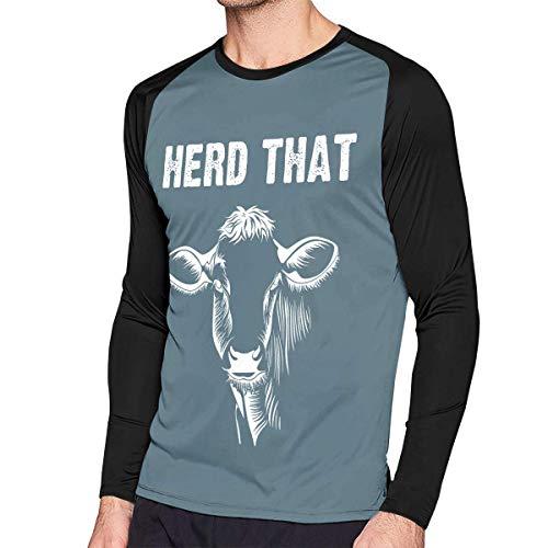 Herren Langarm Classic T-Shirt, Men's Casual Herd That Cow Long Reglan Jersey Baseball T-Shirt -