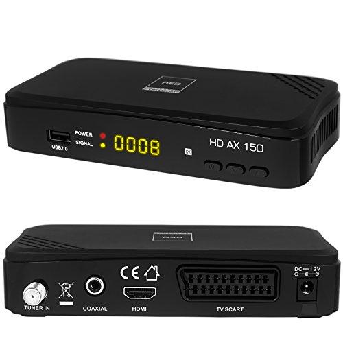 HB DIGITAL DVB-S/S2 SET: Opticum AX150 DVB-S/S2 Receiver + HDMI Kabel mit Ethernet Funktion und vergoldeten Anschlüssen (HD Ready, HDTV, HDMI, SCART, USB 2.0, Koaxial Ausgang)