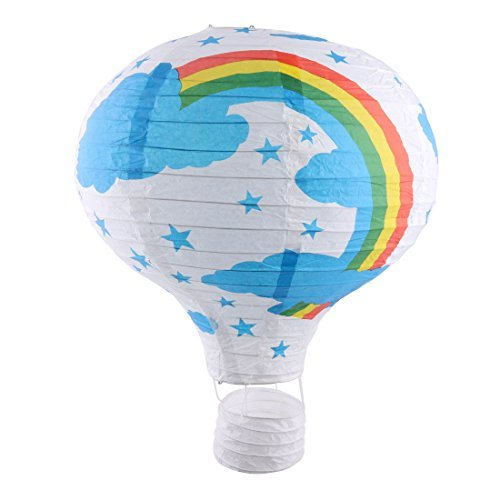 DealMux Papier Regenbogen-Muster-Hochzeit Festival DIY dekorative Lightless Hängen Heißluft-Ballon Laterne Weiß