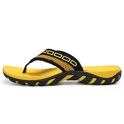 Sixspace Unisex-Erwachsene Zehentrenner Flip Pantoffeln für Damen Herren Kinder, Gelb 37 EU