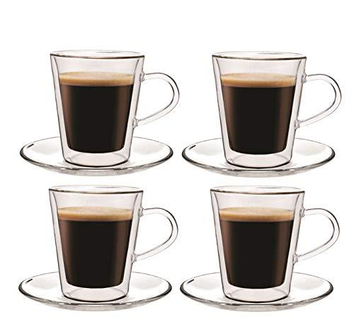 Maxxo Doppelwandige Gläser Doppio Set 4X 100 ml Thermogläser mit Schwebe-Effekt Kaffeegläser Trinkgläser Kaffeglas (Transparent Espresso Tassen)