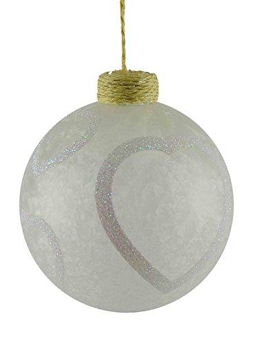 Boule Verre Ø10 Blanc satiné avec cœurs
