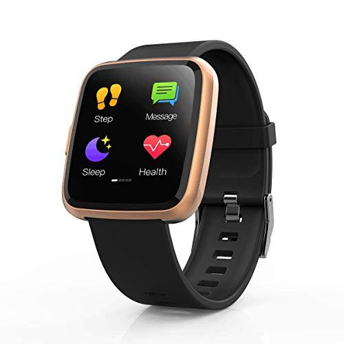 Hommie Touchscreen Smartwatch Wasserdicht IP67 Smart Uhr mit Pulsmesser Fitness Tracker Sport Uhr mit Schrittzähler, Schlaf-Monitor, Call SMS Benachrichtigung Push für Android und iOS,Champagner Gold