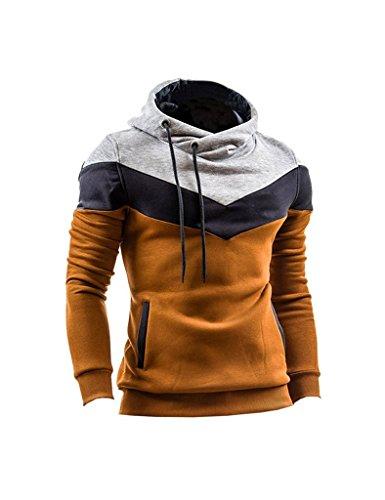 Minetom Uomo Autunno Inverno Contrasto di Colore Con Cappuccio Maglione Moda Slim Fit Felpa Sport Hoodies Cachi IT 48