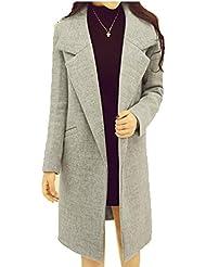 ZQQ Otoño/invierno manga larga slim color sólido caliente delgada lana abrigo de las señoras , gray white , s