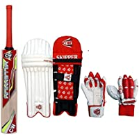 CW Club - Juego de 3 piezas de críquet para niños pequeños, tamaño 3, para niños de 5 a 6 años, color rojo, incluye bate de sauce de cachemira + almohadillas para piernas + guantes de bateo
