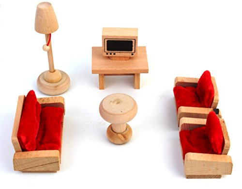 PIGLOO Solid Wood Miniature Toy Dollhouse Lounge Furniture