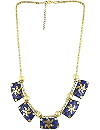 Arittra Alloy Tribal Design Blue Brass Choker Necklace For Girls And Women Brass\Tribal\handicraft\Resin Design...