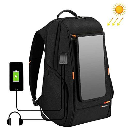 Qnlly Outdoor Solar Rucksack Solar Panel Power Bag Externe USB Lade- / Kopfhöreranschluss Laptop Tablet Taschen zum Wandern Camping Trekking Angeln Notfall und Outdoor Sport,Schwarz -