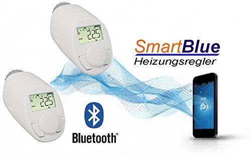 SmartBlue Heizköperthermostat Bluetooth 2-er Set, Programmierung über Smartphone oder Tablet