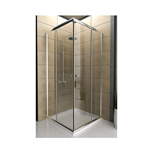bad1a Premium Echtglas Duschkabine mit Eckeinstieg 80x80x190 cm und Schiebeelementen aus E