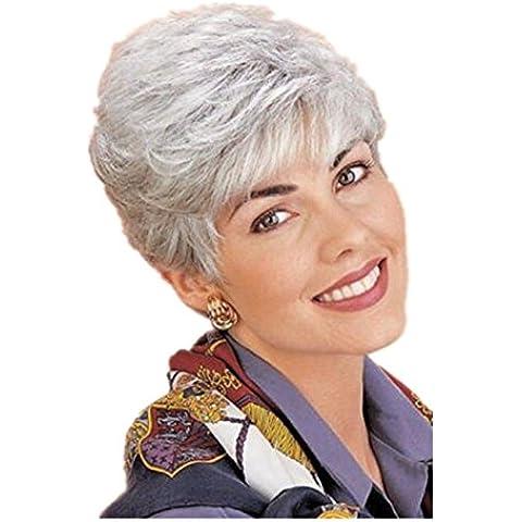 Meydlee Parrucche Vecchia mamma dritto corto di parrucche invecchiato argento pieno parrucche