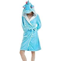 DecoBay Mujer Adulta Cachemir De Oveja Albornoz Animal Bonita Ropa De Baño Unicornio Estrella (Unicornio Azul, L)