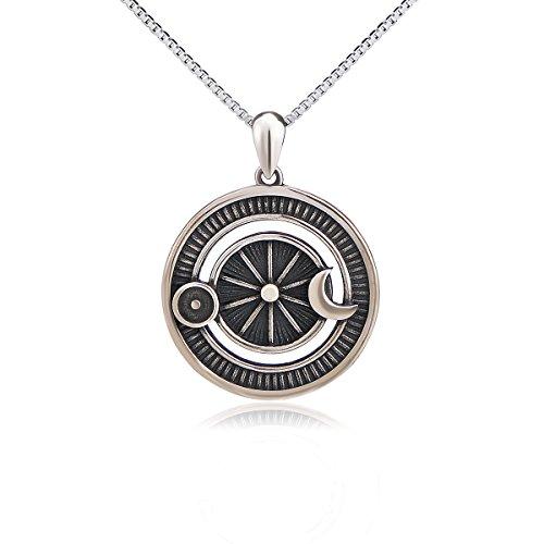 Flyow 925 Sterling Silber Halskette Oxidiert Vintage Sonne und Mond Anhänger Kette, Magie Schmuck für Damen -