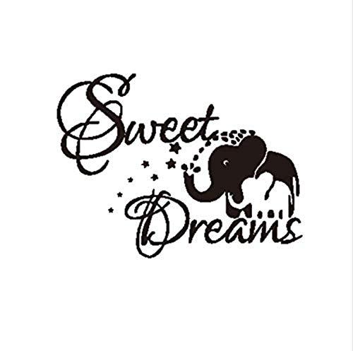 Wandaufkleber aus PVC Sweet Dream Elefant Wandaufkleber Kinderzimmer Dekorationen Cartoon Tier Brief Diy Schlafzimmer Aufkleber Wandbild Kunst Druck 44 Cm x 57 Cm -