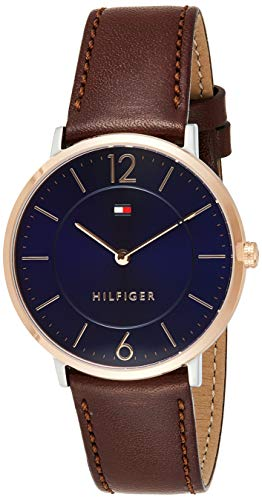 Tommy Hilfiger Herren Analog Quarz Uhr mit Leder Armband 1710354