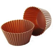 PINFI 81161 - Pack de 12 mini moldes de silicona para magdalenas, 5 cm, color chocolate