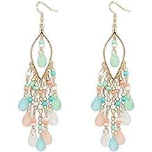 a870f122b632 Beisoug 1 par Mujeres Encanto Bohemio Cuentas de Colores Gotas para los  oídos cuelgan borlas Pendientes