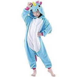 Unicornio Onesie Kids Pjs Girls Sleepwear Pijamas para niños Cosplay Disfraz (4-5 años, Azul)