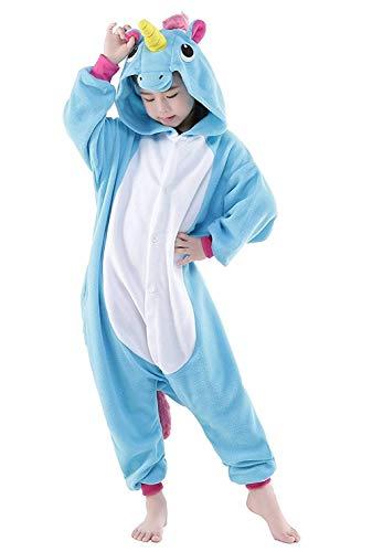 Live It Style It Einhorn-Strampler Kinder Pjs Mädchen Nachtwäsche Jungen Pyjamas Cosplay Kostüm (4-5 Jahre, Blau)