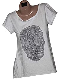 Shirt T-Shirt Tunika Totenkopf Glitzer Strass Nieten Vintage