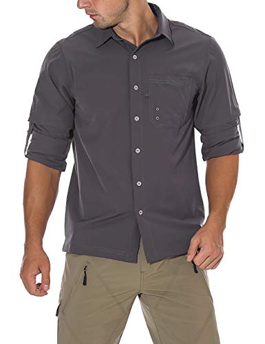 Unitop® Herren Wandershirt Roll-Up Langarm Angelshirt, Herren, Deep Gray(One Chest Pocket), Small - 95% Chinlon 5% Spandex