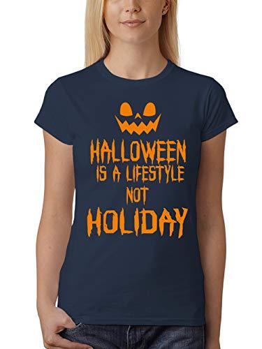 clothinx Damen T-Shirt Fit Halloween is A Lifestyle Not A Holiday Navy Gr. - Walking Dead Girl Kostüm