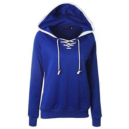 HUA&X Sweat-shirts femme Sweat fit Hat Strap Tops à manches longues Pull poche blue