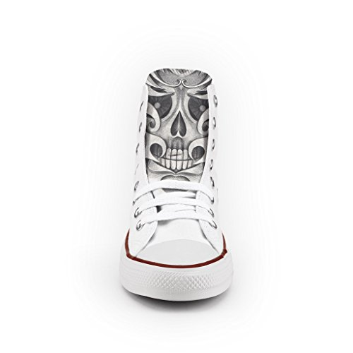Converse All Star High Customized and Printed – handmade shoes – Italian Brand – Drawn Skull