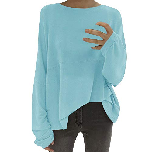 OverDose Damen Herbst Winter Freizeit Stil Frauen Crewneck Fledermausärmel Bluse T-Shirt Casual Jumper Pullover T Tops Langarmshirts Outwear(Blau,EU-52/CN-2XL)