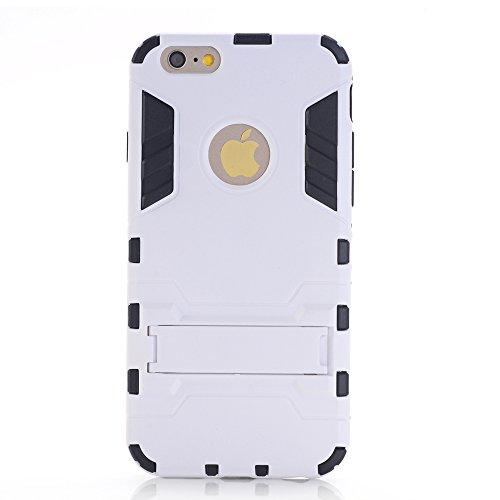 """WindCase iPhone 7 Plus Coque, Dual Layer Housse TPU +PC Hybride Etui Robuste Protection Lourde Armure Defender Case avec Béquille pour Apple iPhone 7 Plus 5.5"""" Gris Blanc"""