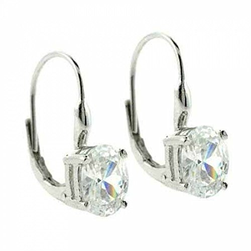 Sterling Silver Prong Set Simulated CZ Oval Leverback Lever Back Earrings