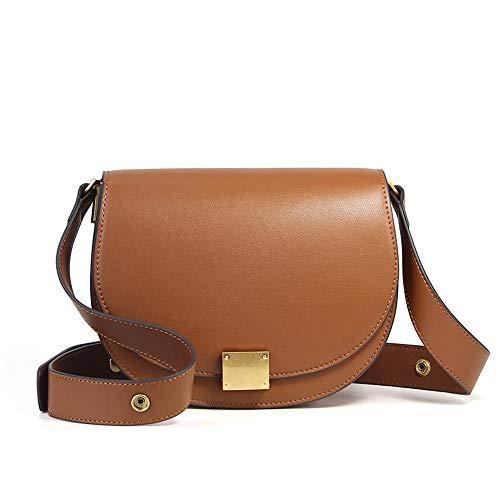 IJunge Vintage Wide Shoulder Strap Satteltasche Damen Leder Messenger Bag,Brown