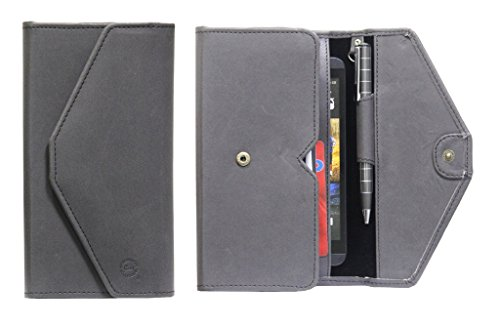 J Cover A12 Nillofer Leather Wallet Universal Phone Pouch Cover Case For LG Google Nexus 5 (16GB) Black