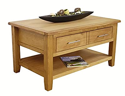 Nebraska Modern Oak 2 Drawer Coffee Table with Shelf / Sliding Storage